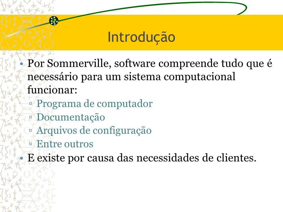 2 Introdução. Por Sommerville, software compreende tudo que é necessário para um sistema computacional funcionar: