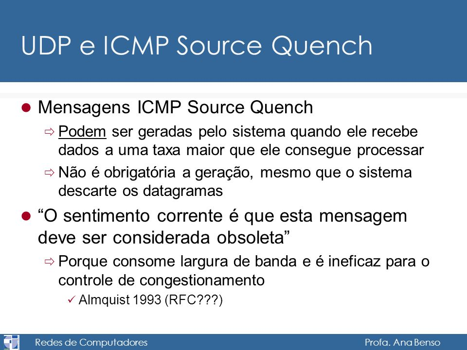 UDP e ICMP Source Quench