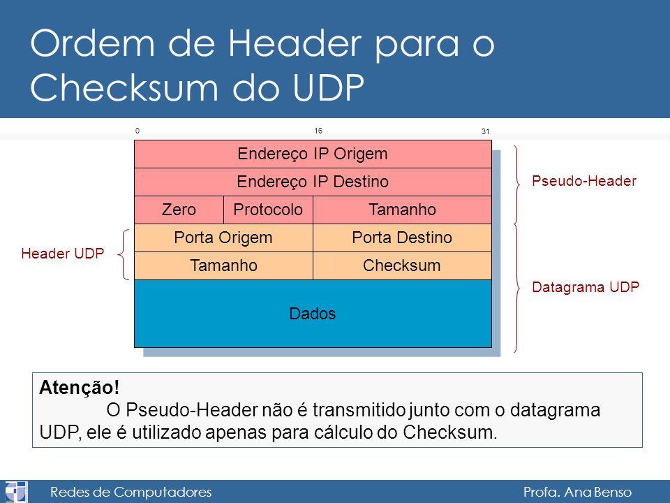 Ordem de Header para o Checksum do UDP
