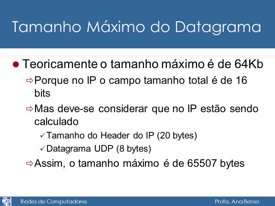 Tamanho Máximo do Datagrama