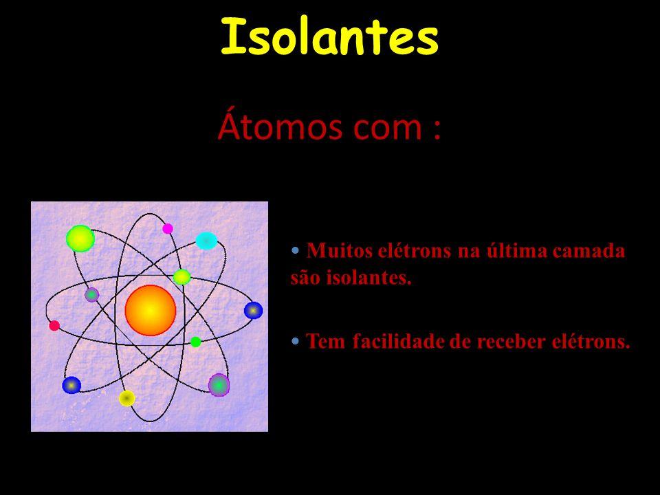 Isolantes Átomos com : Muitos elétrons na última camada são isolantes.
