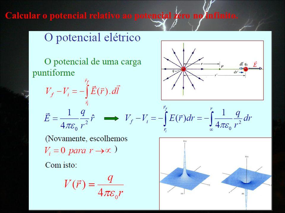 Calcular o potencial relativo ao potencial zero no infinito.