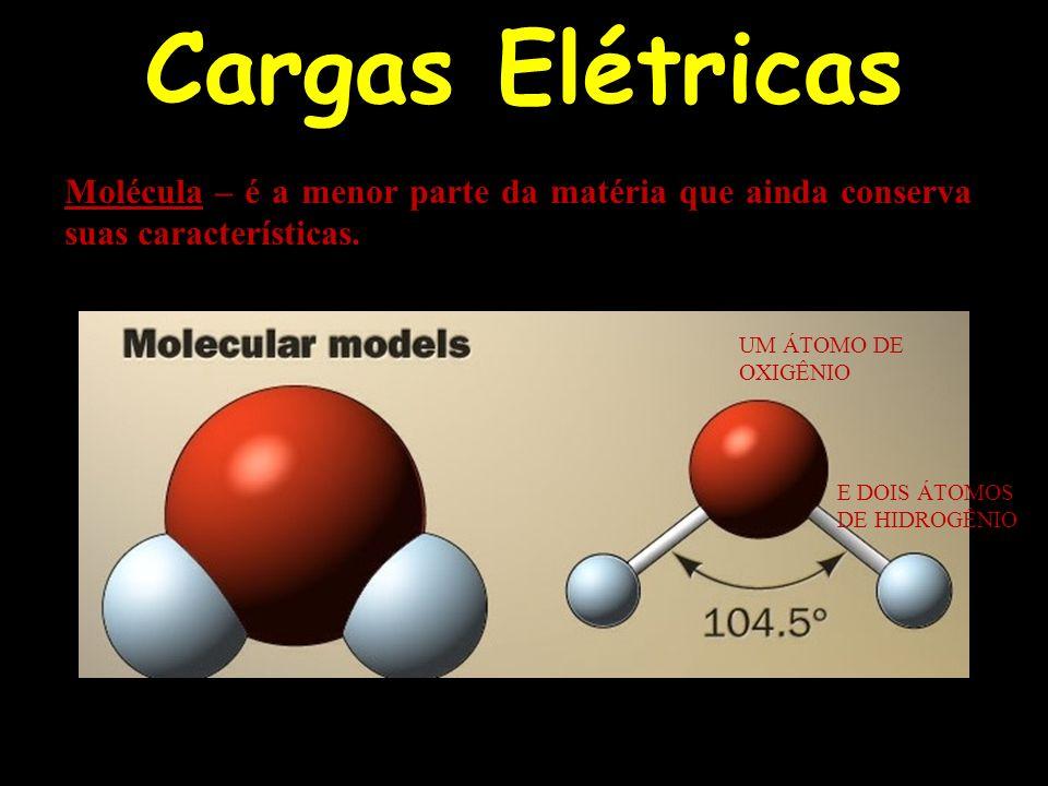 Cargas Elétricas Molécula – é a menor parte da matéria que ainda conserva suas características. UM ÁTOMO DE.