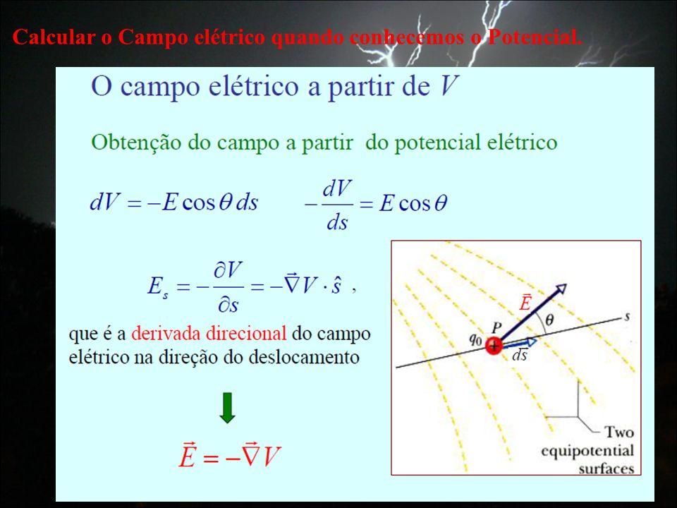 Calcular o Campo elétrico quando conhecemos o Potencial.