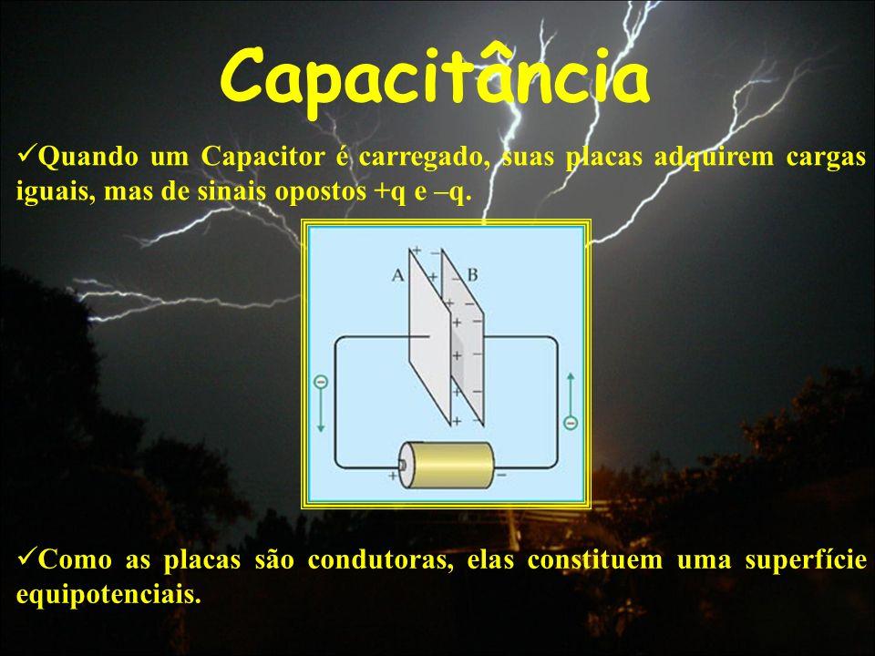 Capacitância Quando um Capacitor é carregado, suas placas adquirem cargas iguais, mas de sinais opostos +q e –q.