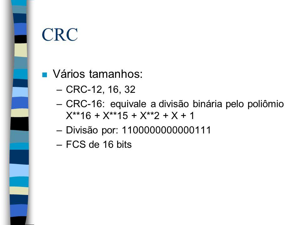 CRC Vários tamanhos: CRC-12, 16, 32