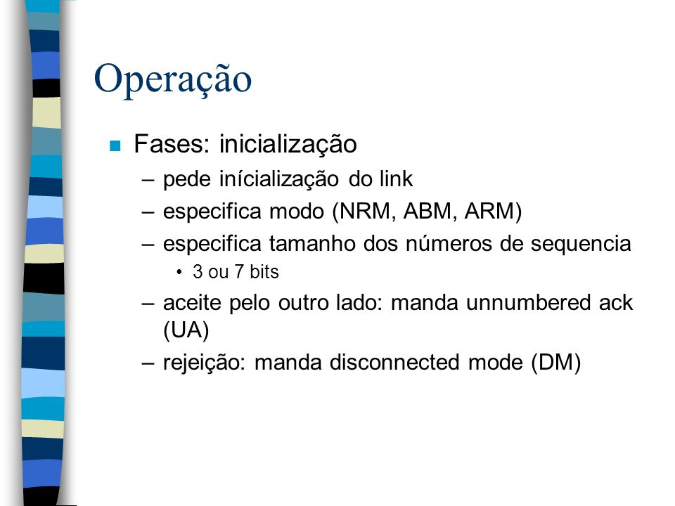 Operação Fases: inicialização pede inícialização do link