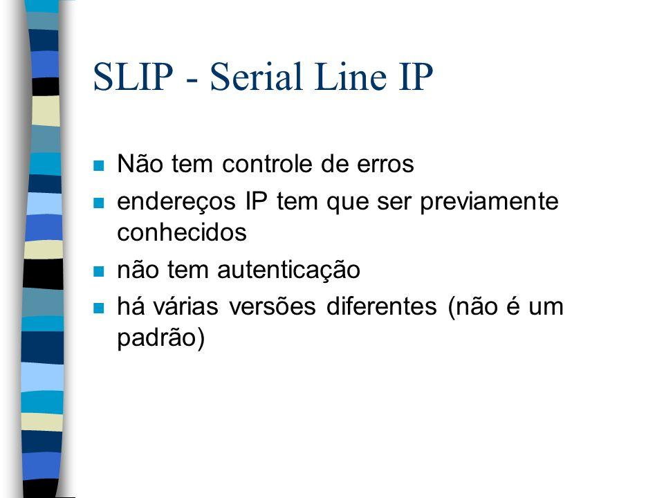 SLIP - Serial Line IP Não tem controle de erros