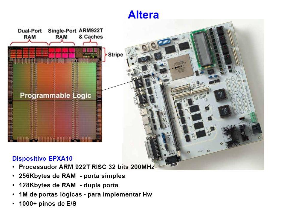 Altera Dispositivo EPXA10 Processador ARM 922T RISC 32 bits 200MHz