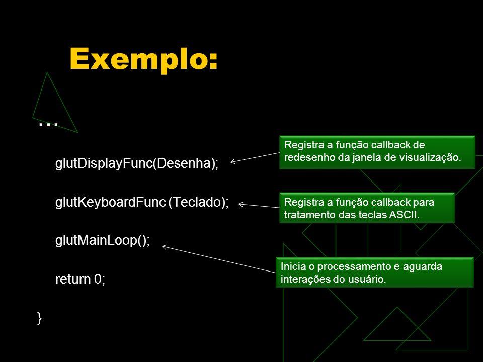 Exemplo: ... glutDisplayFunc(Desenha); glutKeyboardFunc (Teclado);