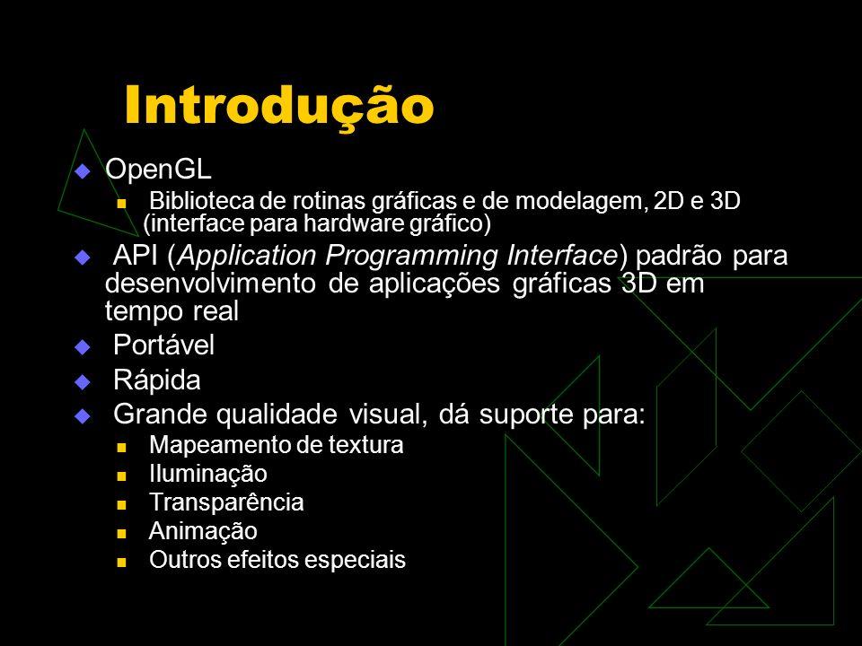 Introdução OpenGL. Biblioteca de rotinas gráficas e de modelagem, 2D e 3D (interface para hardware gráfico)