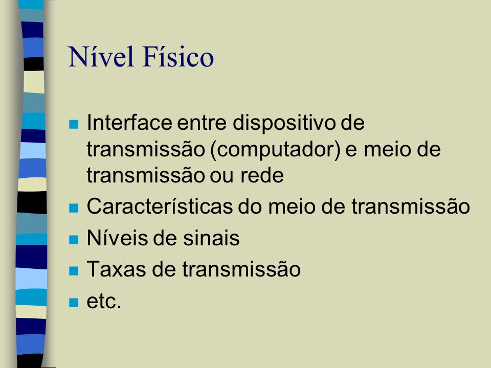 Nível Físico Interface entre dispositivo de transmissão (computador) e meio de transmissão ou rede.