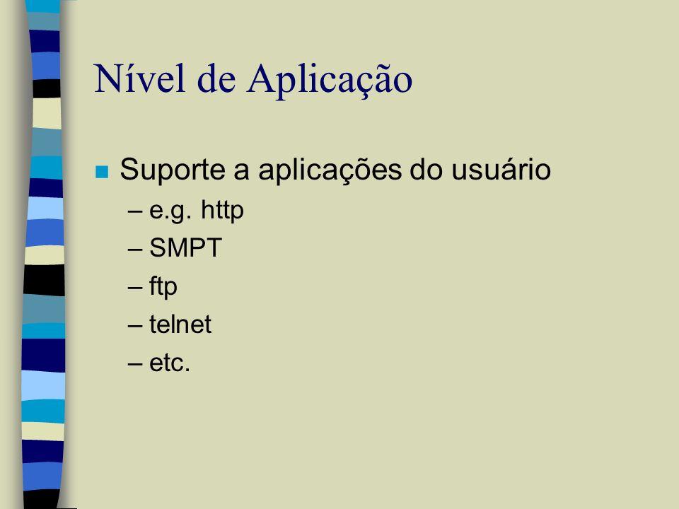 Nível de Aplicação Suporte a aplicações do usuário e.g. http SMPT ftp