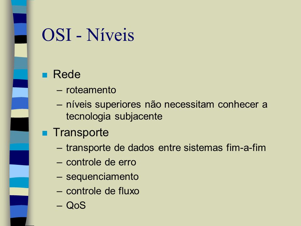 OSI - Níveis Rede Transporte roteamento