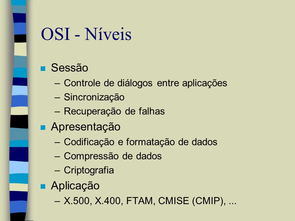 OSI - Níveis Sessão Apresentação Aplicação