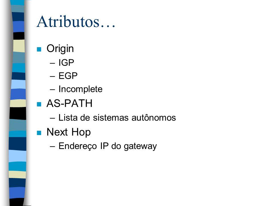 Atributos… Origin AS-PATH Next Hop IGP EGP Incomplete