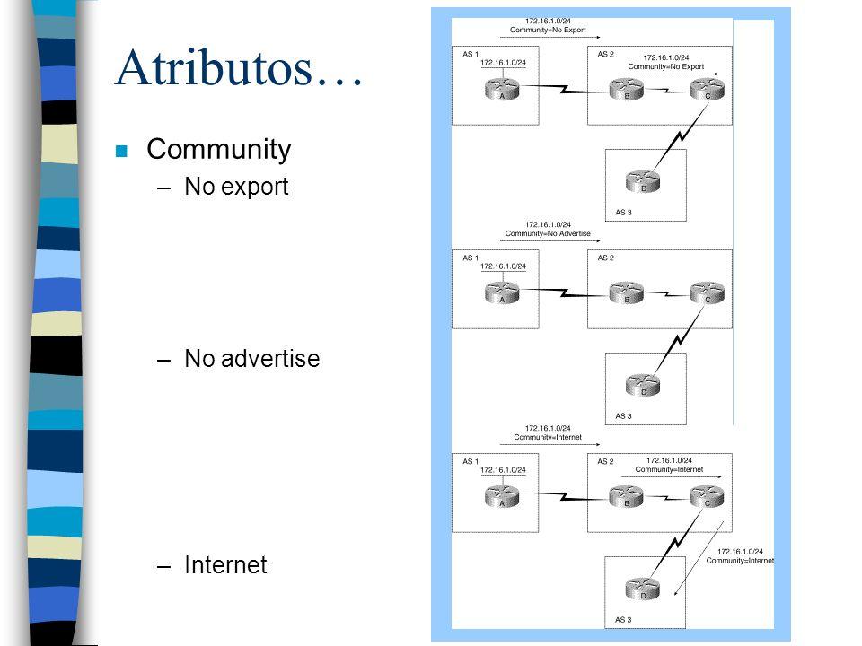 Atributos… Community No export No advertise Internet