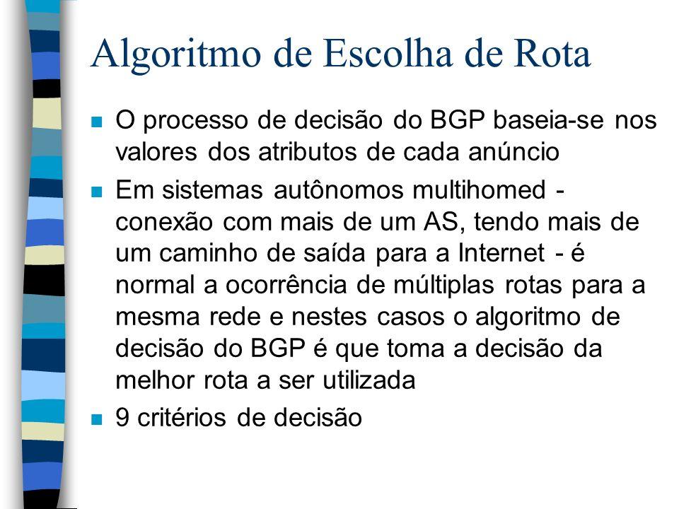 Algoritmo de Escolha de Rota