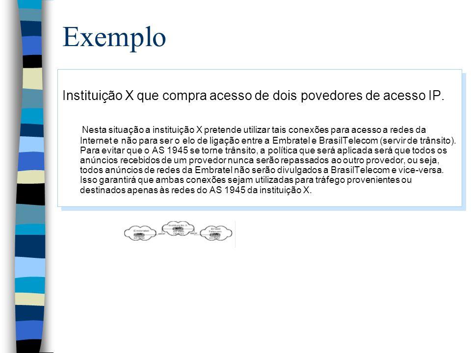 Exemplo Instituição X que compra acesso de dois povedores de acesso IP.