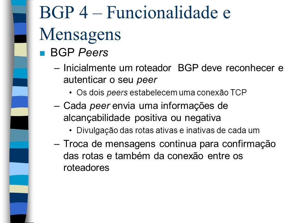 BGP 4 – Funcionalidade e Mensagens