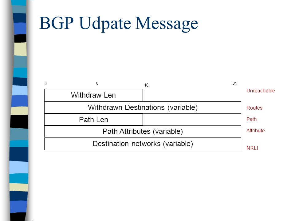 BGP Udpate Message Withdraw Len Withdrawn Destinations (variable)