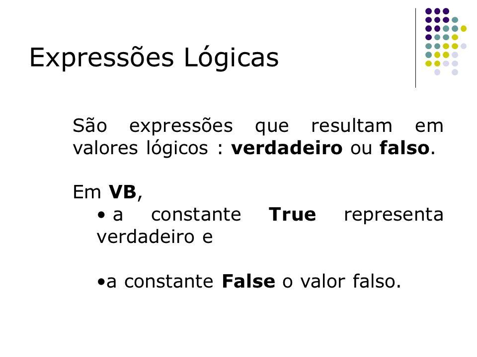 Expressões LógicasSão expressões que resultam em valores lógicos : verdadeiro ou falso. Em VB, a constante True representa verdadeiro e.
