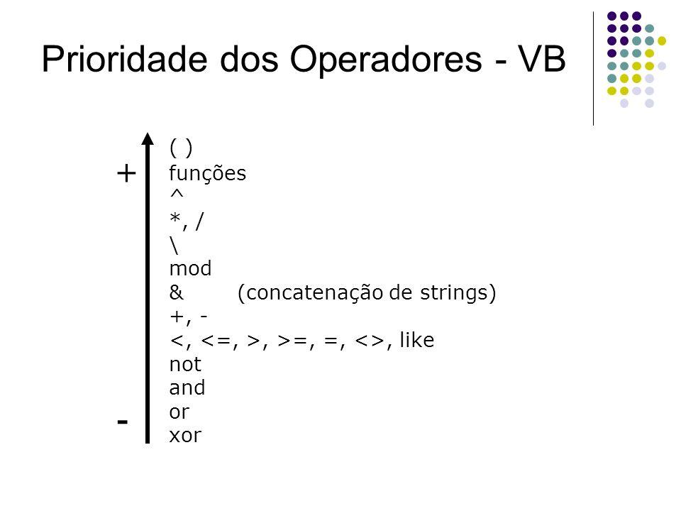 Prioridade dos Operadores - VB