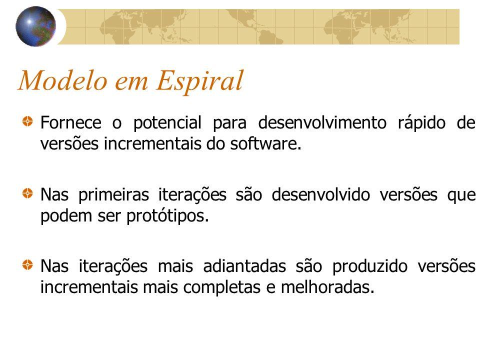 Modelo em Espiral Fornece o potencial para desenvolvimento rápido de versões incrementais do software.