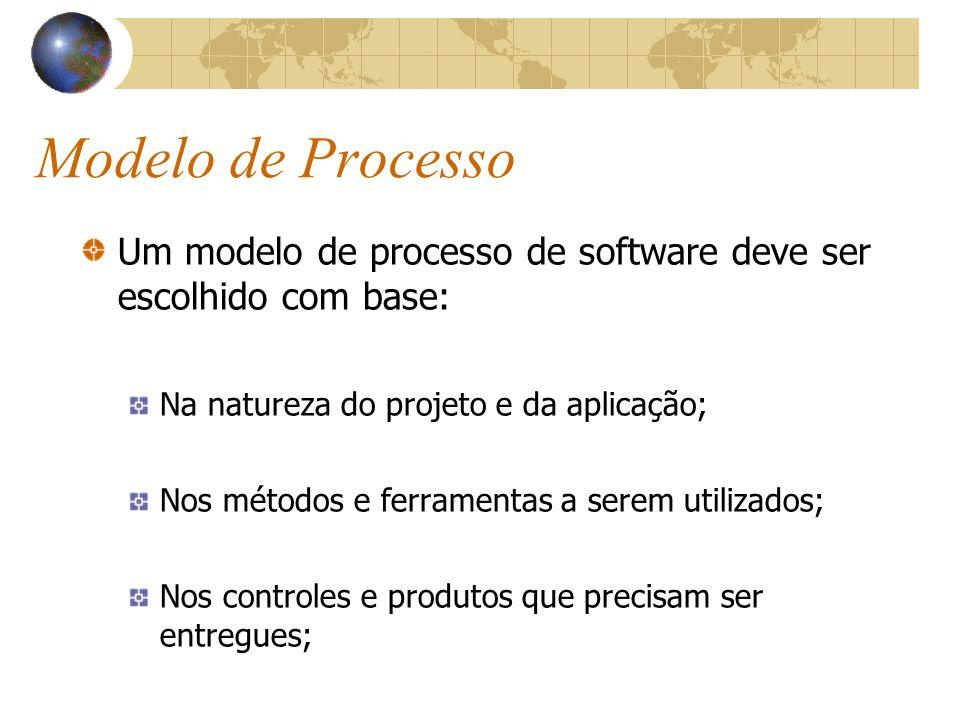 Modelo de Processo Um modelo de processo de software deve ser escolhido com base: Na natureza do projeto e da aplicação;