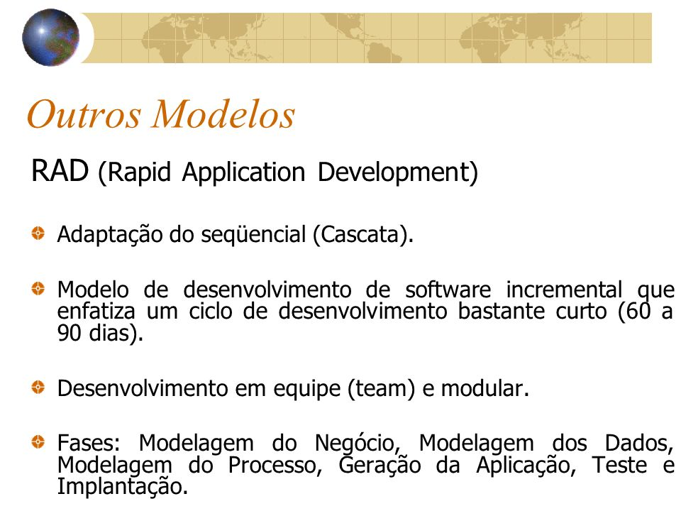 Outros Modelos RAD (Rapid Application Development)‏