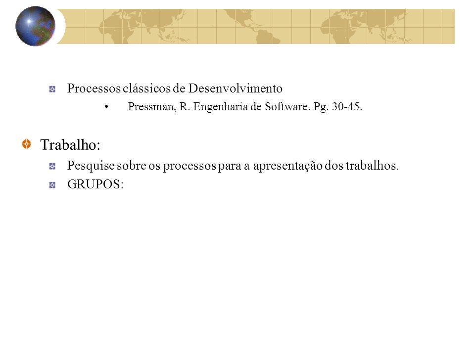 Trabalho: Processos clássicos de Desenvolvimento