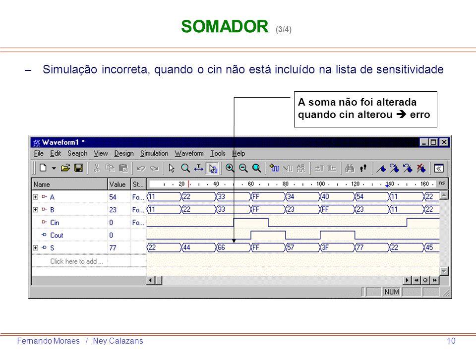 SOMADOR (3/4)Simulação incorreta, quando o cin não está incluído na lista de sensitividade.