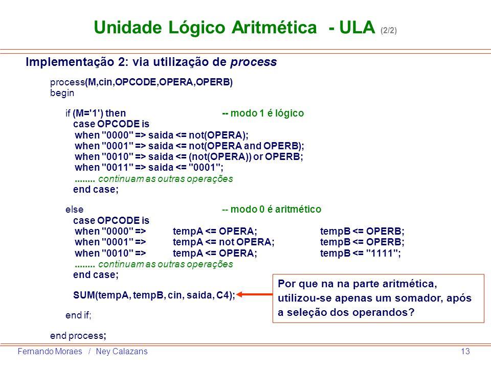 Unidade Lógico Aritmética - ULA (2/2)