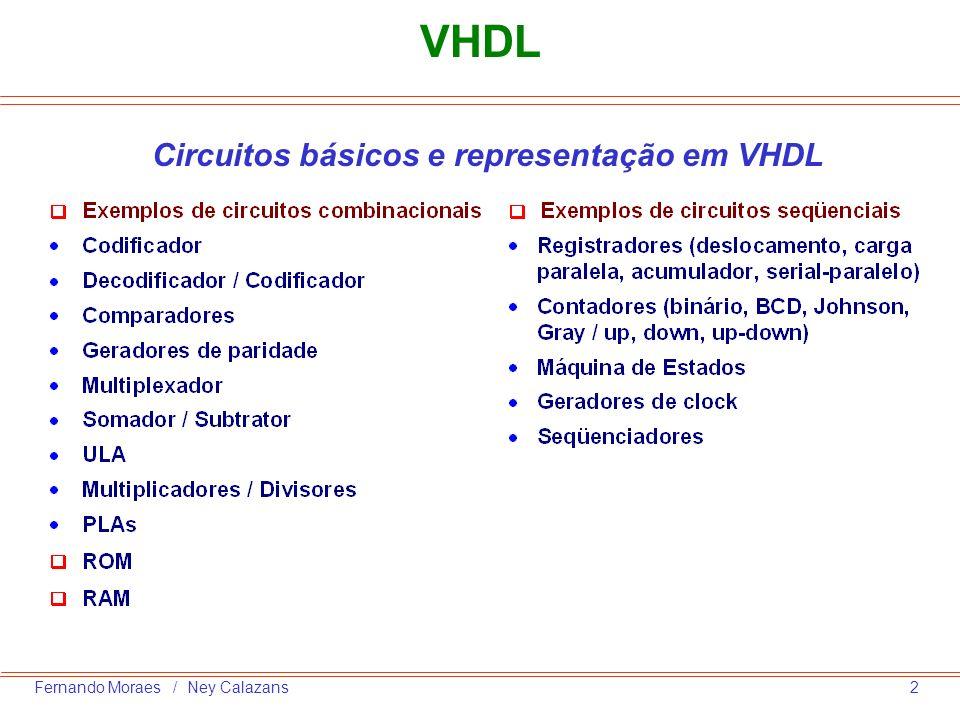Circuitos básicos e representação em VHDL