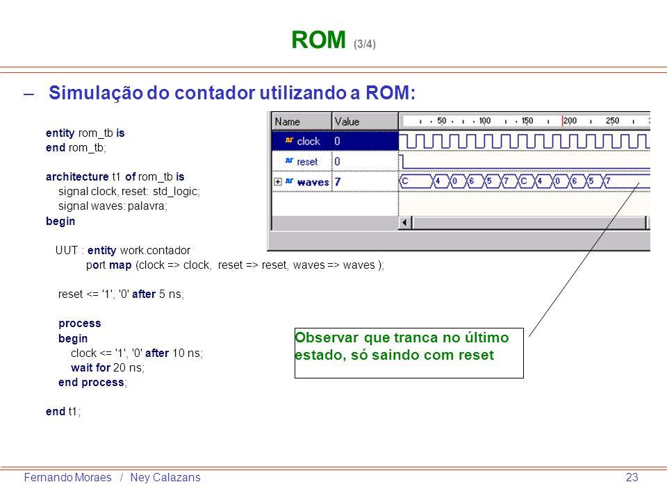 ROM (3/4) Simulação do contador utilizando a ROM: