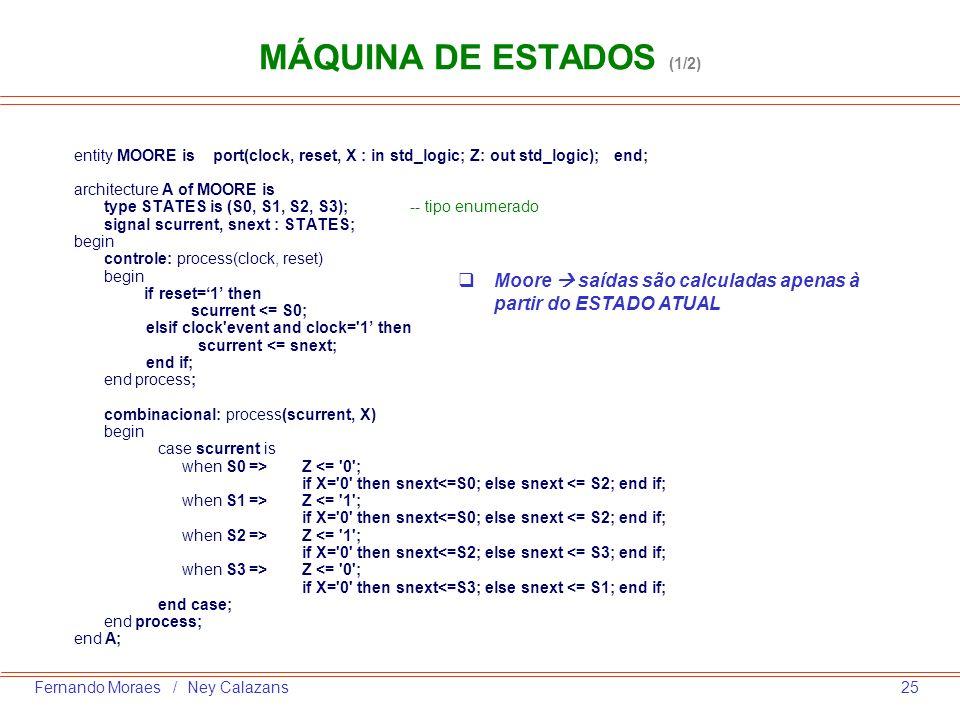 MÁQUINA DE ESTADOS (1/2)entity MOORE is port(clock, reset, X : in std_logic; Z: out std_logic); end;