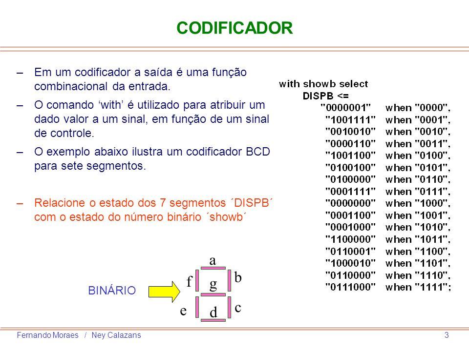 CODIFICADOR Em um codificador a saída é uma função combinacional da entrada.