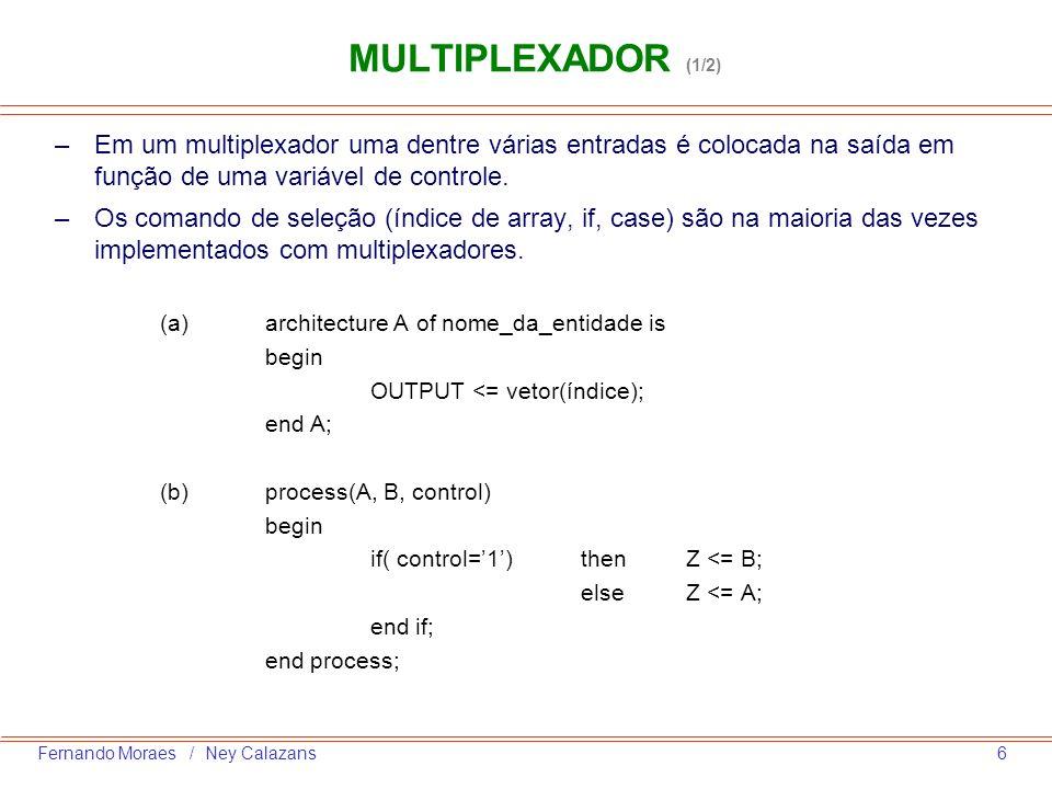 MULTIPLEXADOR (1/2) Em um multiplexador uma dentre várias entradas é colocada na saída em função de uma variável de controle.