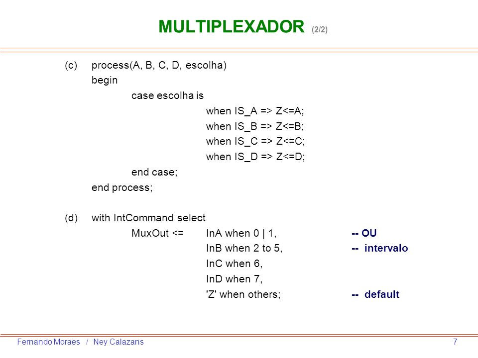 MULTIPLEXADOR (2/2) (c) process(A, B, C, D, escolha) begin