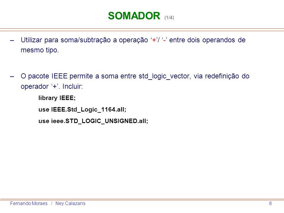 SOMADOR (1/4) Utilizar para soma/subtração a operação '+'/ '-' entre dois operandos de mesmo tipo.