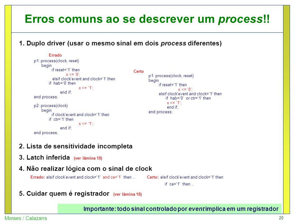 Erros comuns ao se descrever um process!!