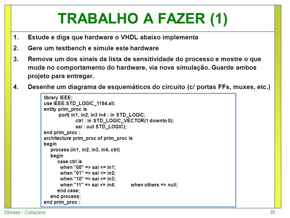 TRABALHO A FAZER (1) Estude e diga que hardware o VHDL abaixo implementa. Gere um testbench e simule este hardware.