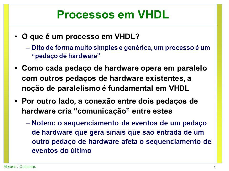 Processos em VHDL O que é um processo em VHDL