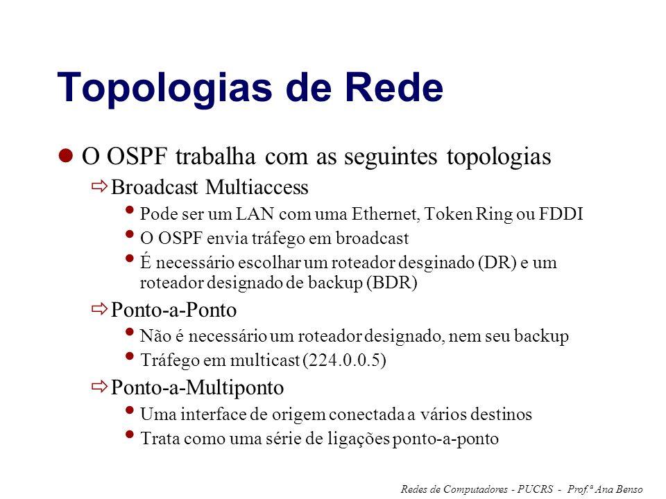 Topologias de Rede O OSPF trabalha com as seguintes topologias