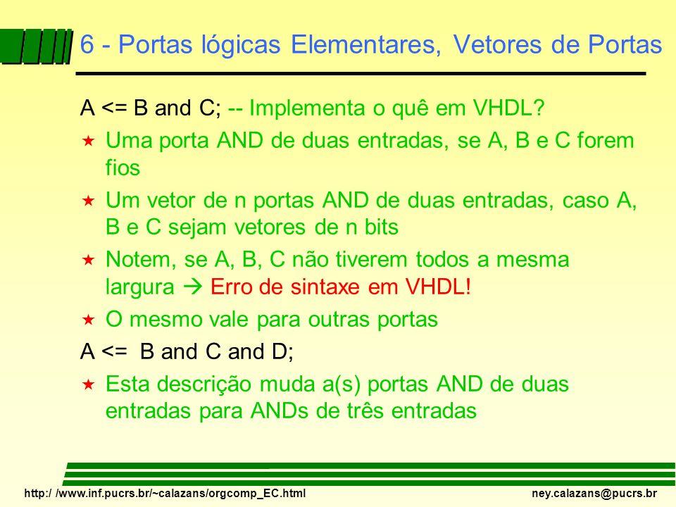 6 - Portas lógicas Elementares, Vetores de Portas