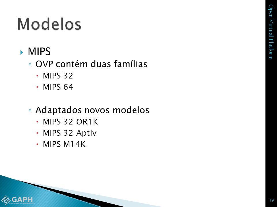 Modelos MIPS OVP contém duas famílias Adaptados novos modelos MIPS 32