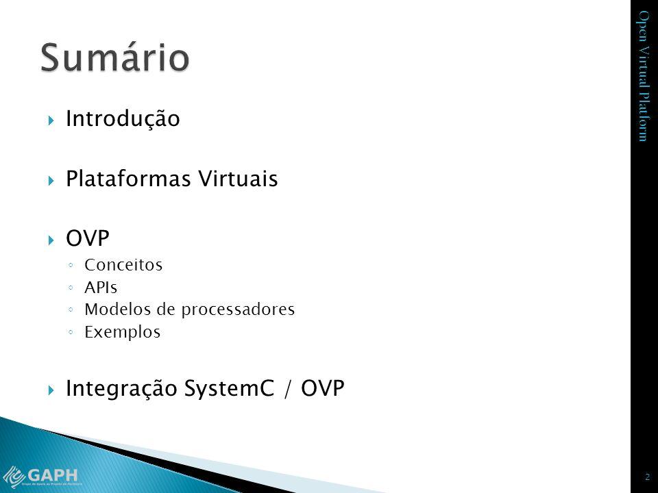Sumário Introdução Plataformas Virtuais OVP Integração SystemC / OVP