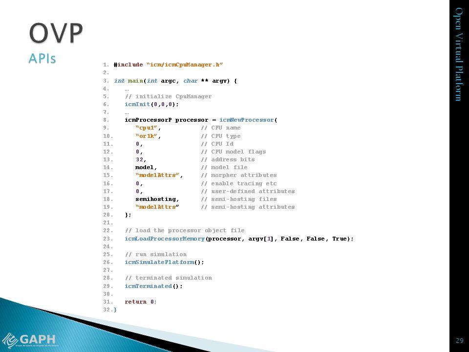 OVP APIs icmInit – inicia o ambiente de simulação antes de executar o simulador. São 3 parâmetros: