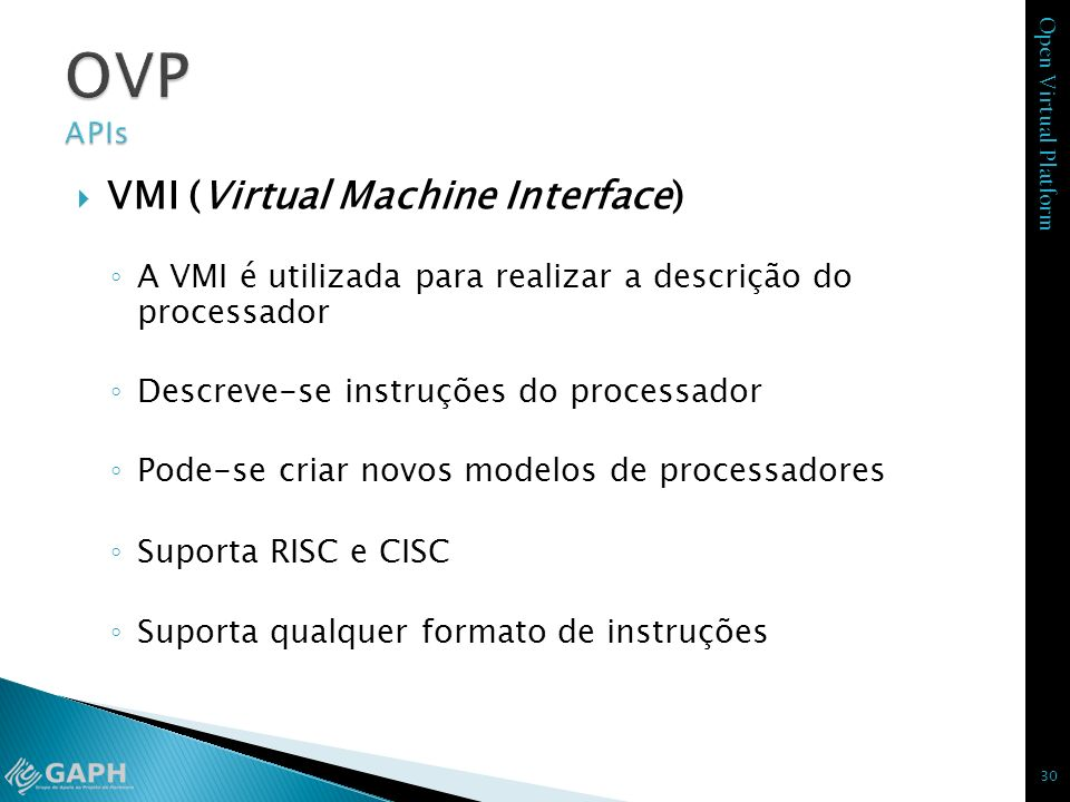 OVP APIs VMI (Virtual Machine Interface)