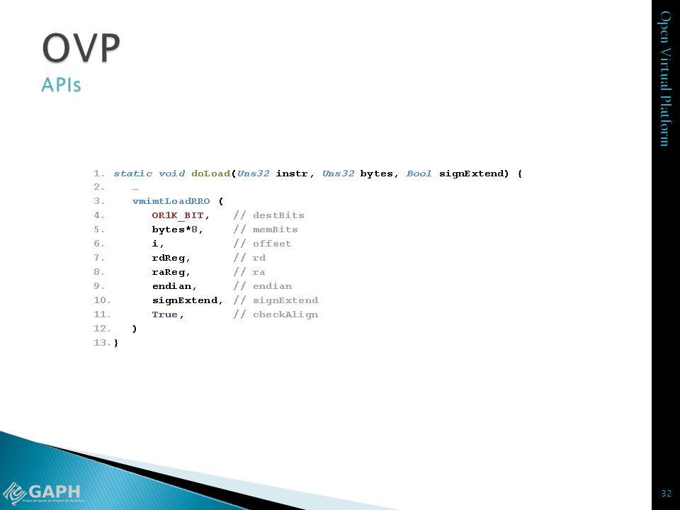 OVP APIs destBits – tamanho em bits do registrador destino